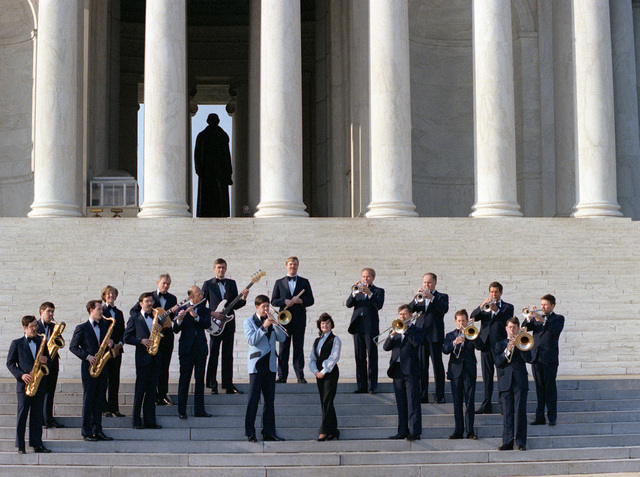 The U.S. Air Force band, Airmen of Note, is photographed on the steps of the Thomas Jefferson Memorial