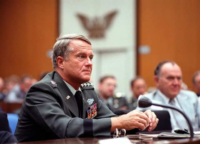 Right side view of GEN Volney F. Warner, USA, as he listens to one of the speakers during the National Mobility Conference at the State Department