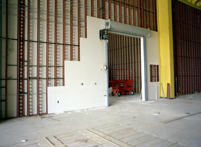 A view of a roll-up door of the mechanical maintenance facility of the Missile X (MX) advanced intercontinental ballistic missile facility