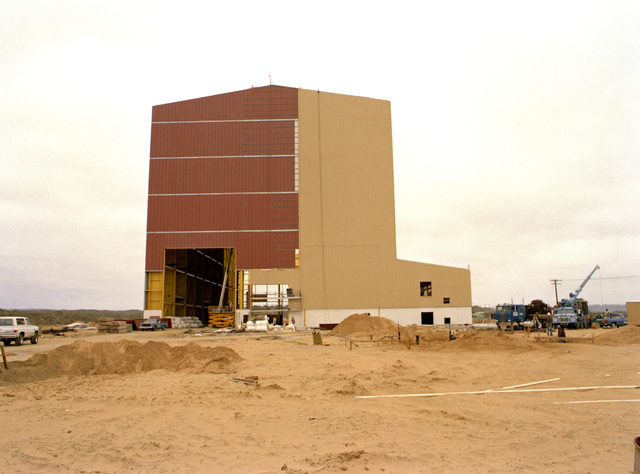 AN exterior view of the missile assembly building, part of the Missile X (MX) advanced intercontinental ballistic missile facility
