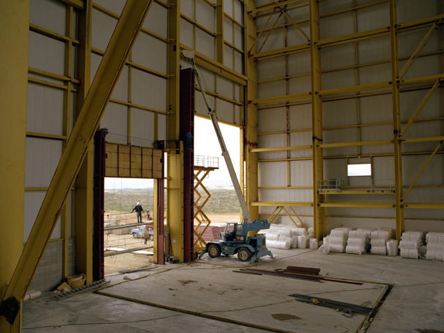AN interior view of the vertical lift door at the missile assembly building, part of the Missile X (MX) advanced intercontinental ballistic missile facility