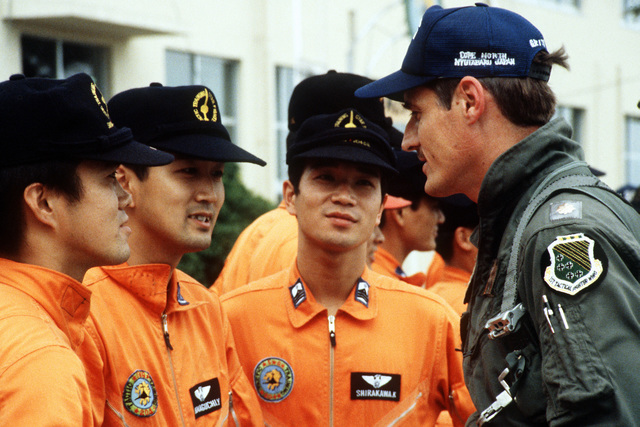 Upon his arrival, MAJ Steve Britt is welcomed by members of the Japanese Air SelF Defense Force 202nd Fighter Squadron during Exercise Cope North '81-3
