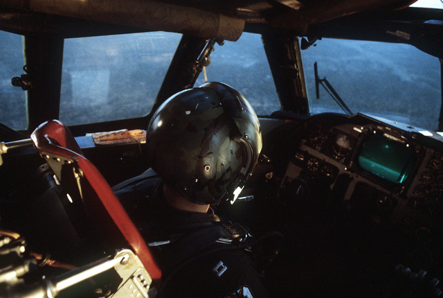 A pilot flies a B-52H Stratofortress aircraft during exercise Busy Prairie II