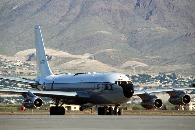 A right front view of an EC-135 airborne command and control aircraft on arrival during exercise Busy Prairie II. BGEN John Shaud, strategic projection force commander, is aboard the aircraft