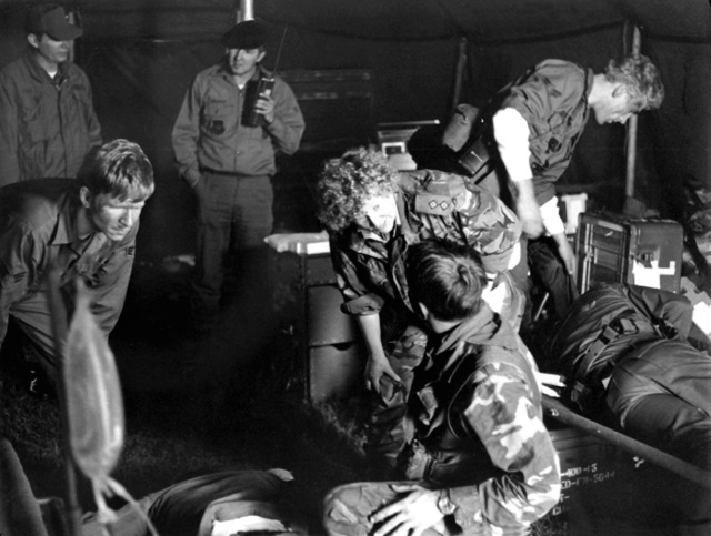 Casualties are cared for by the 67th Aerospace Rescue and Recovery Squadron during a paramedic exercise