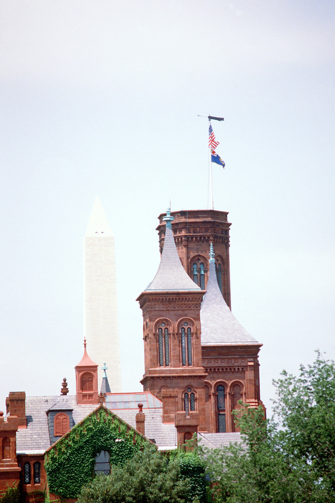 The Smithsonian Castle with Washington Monument in the background