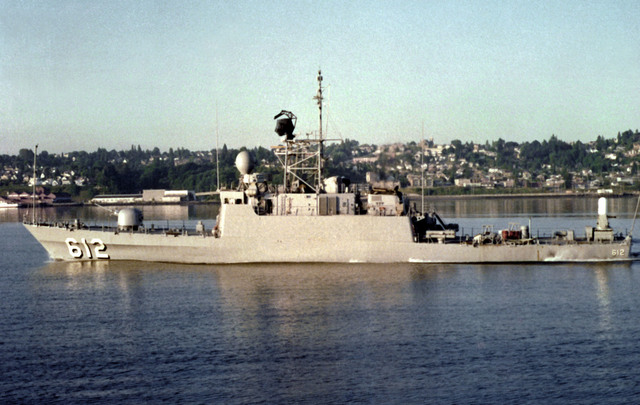 A port beam view of the missile patrol chaser PCG-612 underway following completion. The vessel was built by Tacoma Boatbuilding Company for sale to the Saudi Arabian navy
