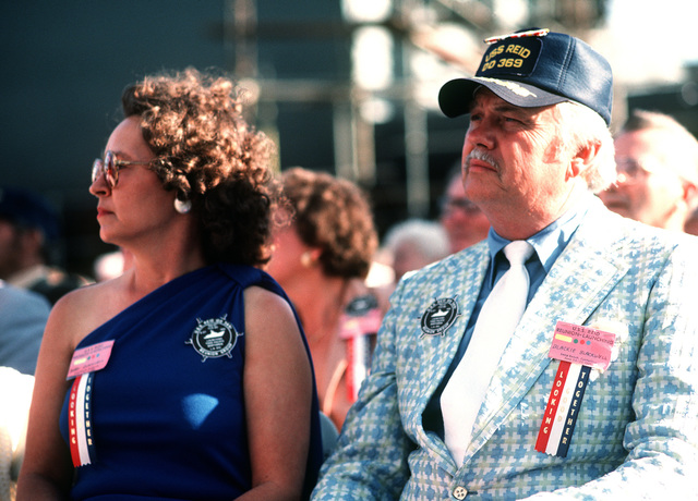 A survivor from the destroyer ex-USS REID (DD-369) attends christening and launching ceremonies for the guided missile frigate USS REID (FFG-30) at the Todd Pacific Shipyards Corp., Los Angeles Div