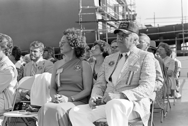 A survivor from the destroyer ex-USS REID (DD 369) attends christening and launching ceremonies for the guided missile frigate USS REID (FFG 30) at the Todd Pacific Shipyards Corp. Los Angeles Division