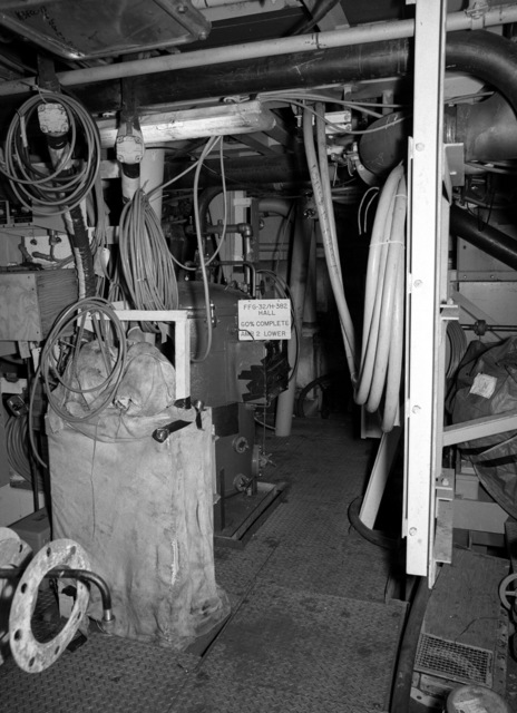 Lower level auxiliary machinery room No. 2 aboard the Oliver Hazard Perry class guided missile frigate USS JOHN L. HALL (FFG 32) at 60 percent completion
