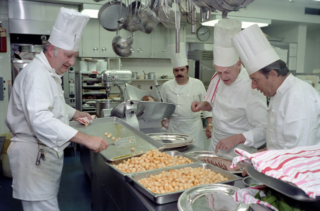 Henry Haller and other Chefs Cooking in the White House Kitchen for State Dinner for Prime Minister Fraser of Australia