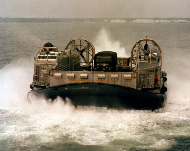 "A bow view of the amphibious assault landing craft (AALC) ""Jeff B"" underway"