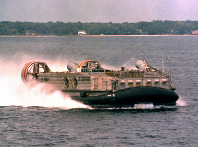 "A starboard bow view of the amphibious assault landing craft (AALC) ""Jeff B"" underway"