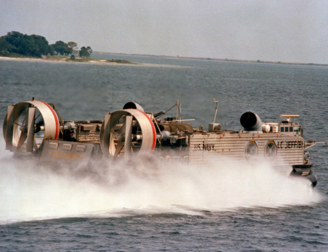 "A starboard quarter view of the amphibious assault landing craft (AALC) ""Jeff B"" underway"