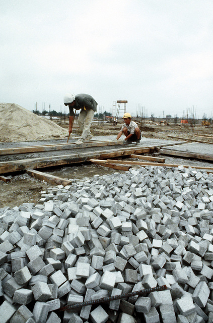 A view of the small concrete blocks that will be used in the construction of the A-10 Thunderbolt II aircraft facilities