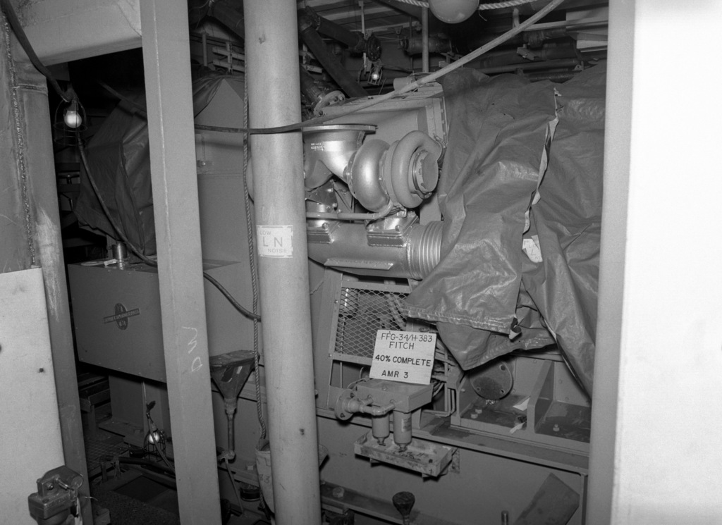 Auxiliary machinery room No. 3 aboard the Oliver Hazard Perry class guided missile frigate the USS AUDREY FITCH (FFG 34) at 40 percent completion
