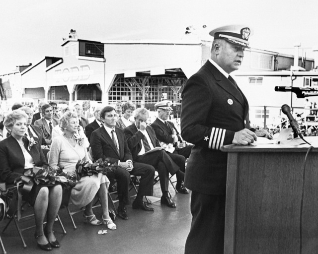 Captain F. William Meyer, supervisor of shipbuilding, Conversion and Repair, speaks during the launching ceremony for the guided missile frigate CROMMELIN (FFG 37) taking place at Todd Pacific Shipyards Corporation