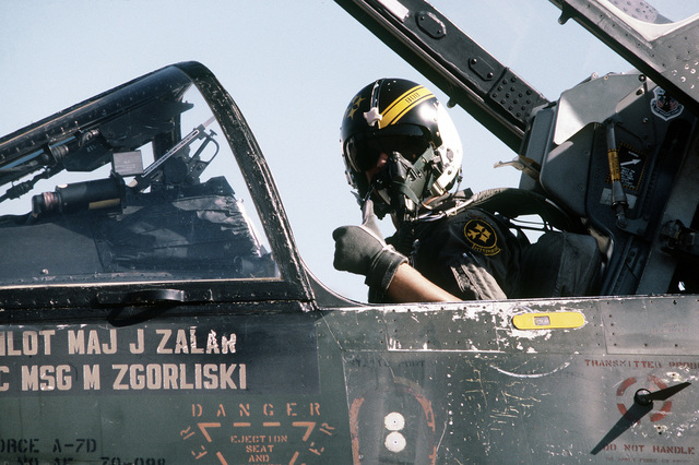 2LT Robert S. Roth, the pilot aboard an A-7 Corsair II aircraft, prepares for take-off on a flight mission during exercise Sentry Castle '81. The pilot is assigned to the 112th Tactical Fighter Group, Pennsylvania Air National Guard
