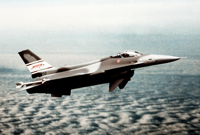 An artist's concept of a proposed camouflage paint scheme for the F-16 advanced fighter technology integration (AFTI) aircraft.(PAG-F-16AFTI)