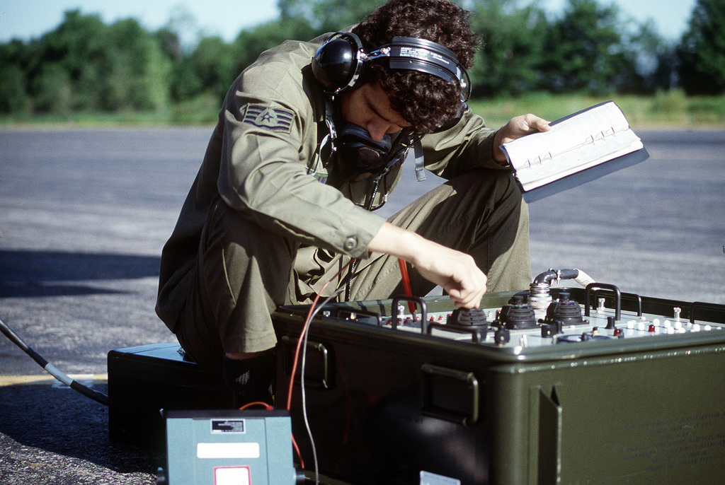 SSGT Bill Clancy, sensor technician, checks the Pave Penny system of an A-10 Thunderbolt II aircraft during exercise Sentry Castle '81. The airman is assigned to the 174th Tactical Fighter Wing, New York Air National Guard