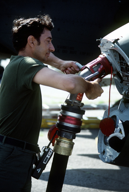 TSGT Carmine Sonnacchio, a petroleum, oil and lubricants specialist, defuels an A-10 Thunderbolt II aircraft during exercise Sentry Castle '81