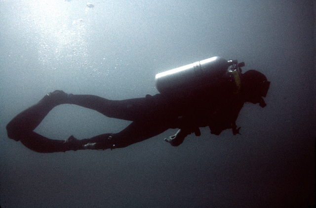 A combat control team member scuba dives during a water training exercise. The team member is from the 63rd Military Airlift Wing