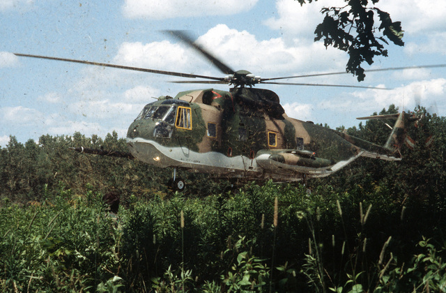 """A view of an HH-3 Jolly Green Giant helicopter from the 106th Aerospace Rescue and Recovery Group as it lands to pick up a """"survivor"""" during Sentry Castle '81, a search and rescue exercise"""