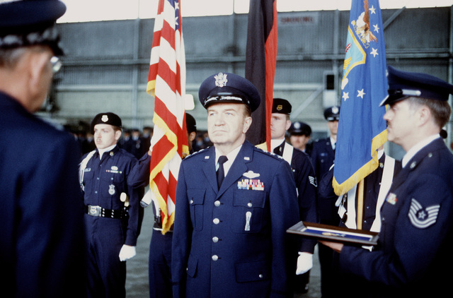GEN Lew Allen, Air Force chief of staff, presents the Department of Defense Distinuished Service Medal to LGEN Benjamin N. Bellis during his retirement ceremony