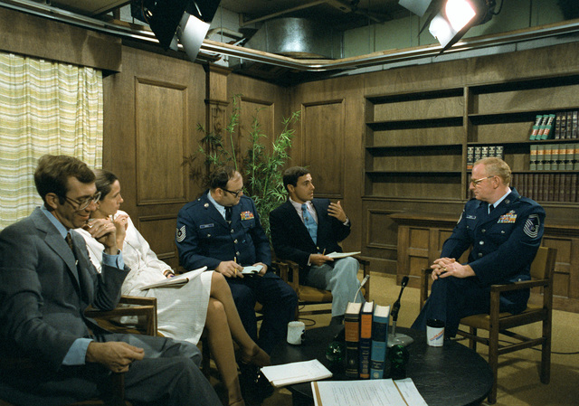 SMSGT Bud Andrews, right, participates in a Media Training Seminar at the Pentagon