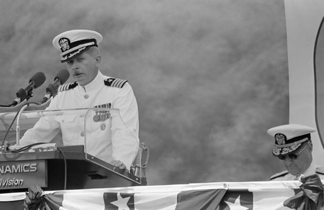 Captain (CAPT) Donald R. Ferrier, prospective commanding officer, speaks during the commissioning of the nuclear-powered attack submarine USS DALLAS (SSN 700)