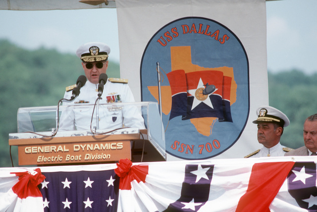Vice Admiral (VADM) Steven A. White, commander, Submarine Force, US Atlantic Fleet, speaks during the commissioning of the nuclear-powered attack submarine USS DALLAS (SSN 700)