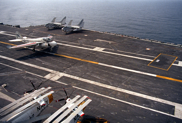 An A-6 Intruder aircraft comes for recovery aboard the nuclear-powered aircraft carrier USS NIMITZ (CVN-68)