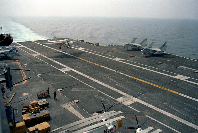 An A-6 Intruder aircraft comes in for recovery aboard the nuclear-powered aircraft carrier USS NIMITZ (CVN-68)