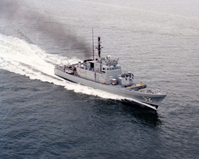 An aerial starboard bow view of the patrol combatant USS TACOMA (PG 92) underway