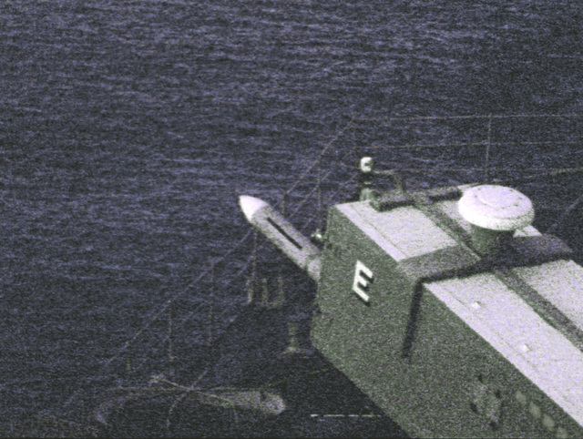 The first in a series of four views of the launch of an RIM-7 Sea Sparrow surface-to-air missile from the destroyer USS MERRILL (DD-976)