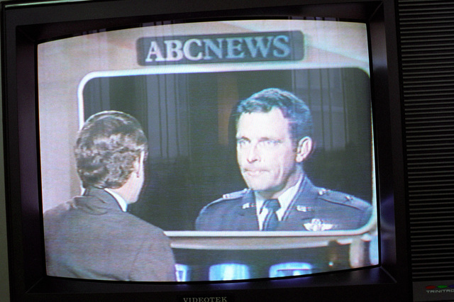 ABC television news commentator, Ted Koppel, interviews Brig. GEN. James McCarthy at the Pentagon via a television hook up