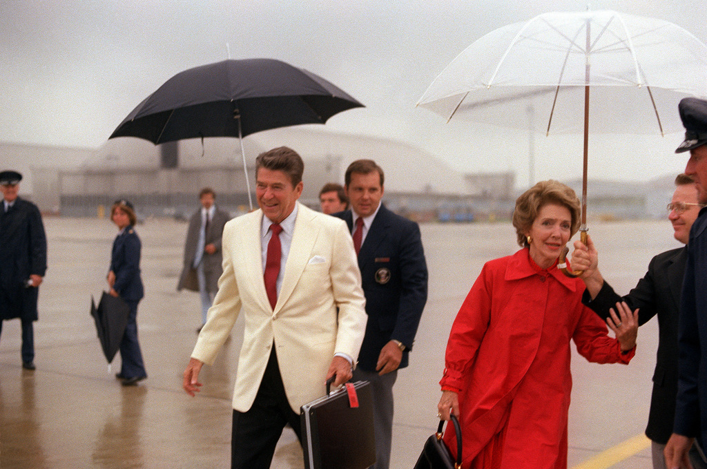 President Ronald and Nancy Reagan arrive at the base for departure on their trip