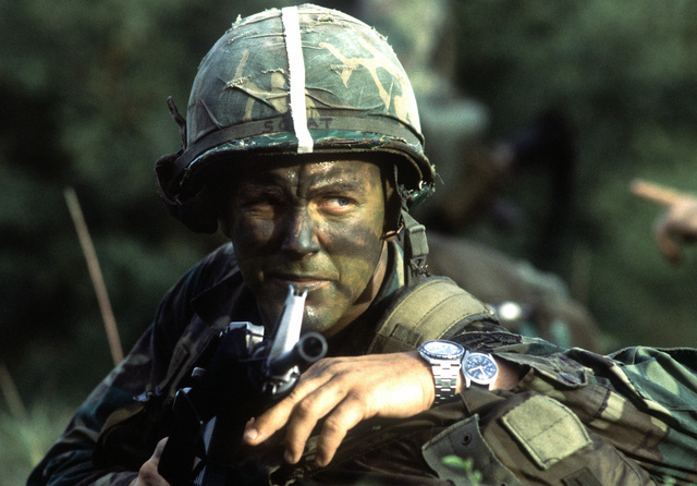 An Airborne Ranger from the 2nd Battalion, 75th Infantry, armed with an M-161A rifle, participates Exercise Ocean Venture '81