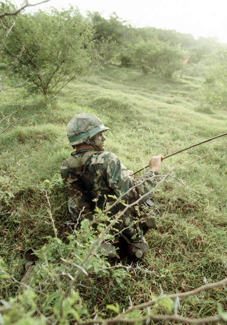 An Airborne Ranger from the 2nd Battalion 75th Infantry works to untangle his gear from thorny bushes after being dropped from a C-141 Starlifter aircraft as Exercise Ocean Venture '81 gets underway