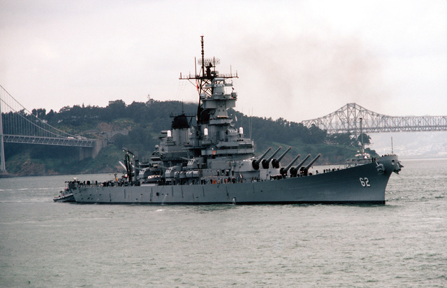 A starboard bow view of the battleship USS NEW JERSEY (BB 62)