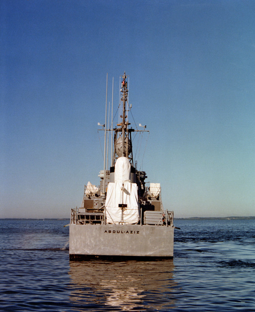 A stern view of the patrol gunboat ABDUL-AZIZ (PGG-515). The gunboat was built by Peterson Builders, Inc