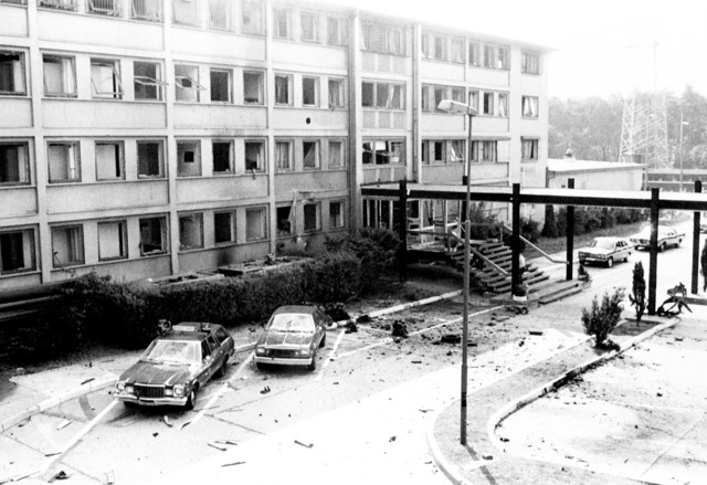 The United States Air Forces in Europe headquarters after a bomb exploded inside the building