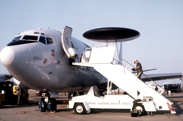 A front view of an E-3A Sentry airborne warning and control system (AWACS) aircraft parked on the apron during a joint U.S.-Australian Air Force exercise Pacific Consort