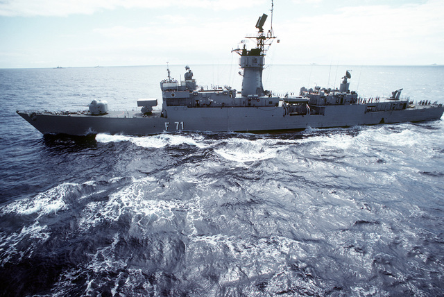 A port beam view of the Spanish frigate BALEARES (F-71) underway during exercise Ocean Venture '81