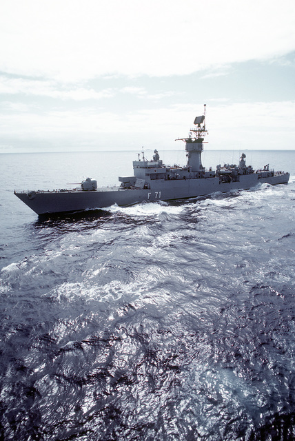 A port bow view of the Spanish frigate BELEARES (F-71) underway during exercise Ocean Venture '81
