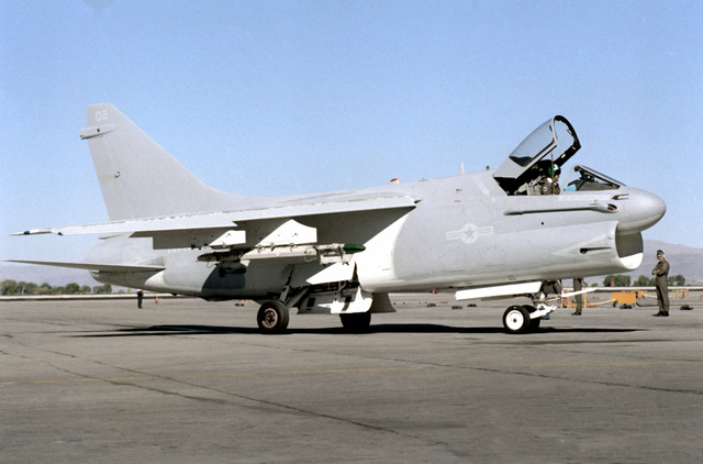 A right side view of a Naval Air Reserve Attack Squadron 305 (VA-305) A-7 Corsair II aircraft as it prepares for take-off during the unit's active duty training