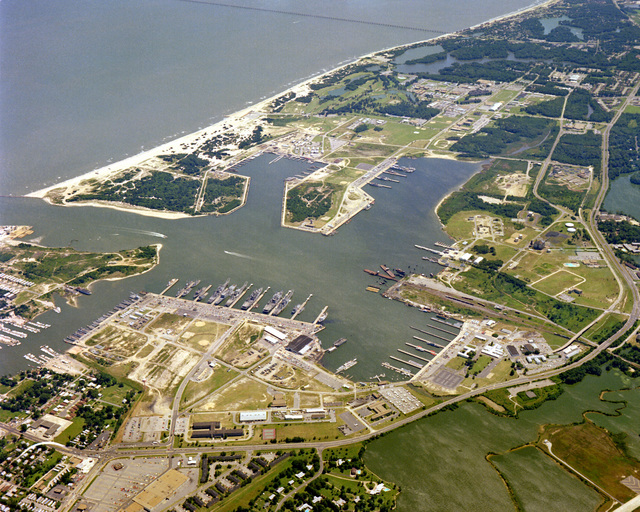 An aerial view of Naval Amphibious Base, Little Creek