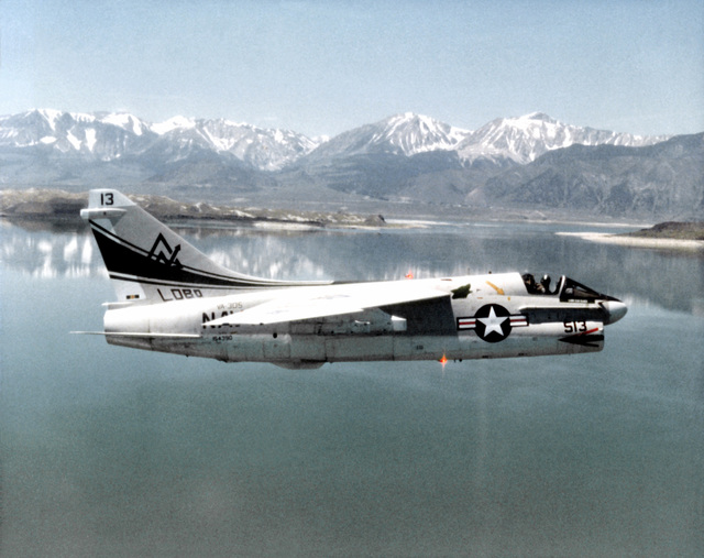 An air-to-air right side view of a Naval Air Reserve Attack Squadron 305 (VA-305) A-7B Corsair II aircraft