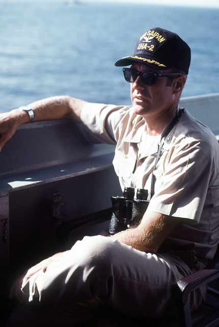 CAPT J. W. Renard, commanding officer, relaxes for a moment aboard the amphibious assault ship USS SAIPAN (LHA-2) during exercise Ocean Venture '81