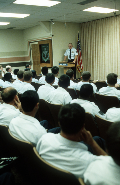 "CMSGT of the Air Force Arthur L. ""Bud"" Andrews speaks before an audience at the Air Training Command NCO Academy"